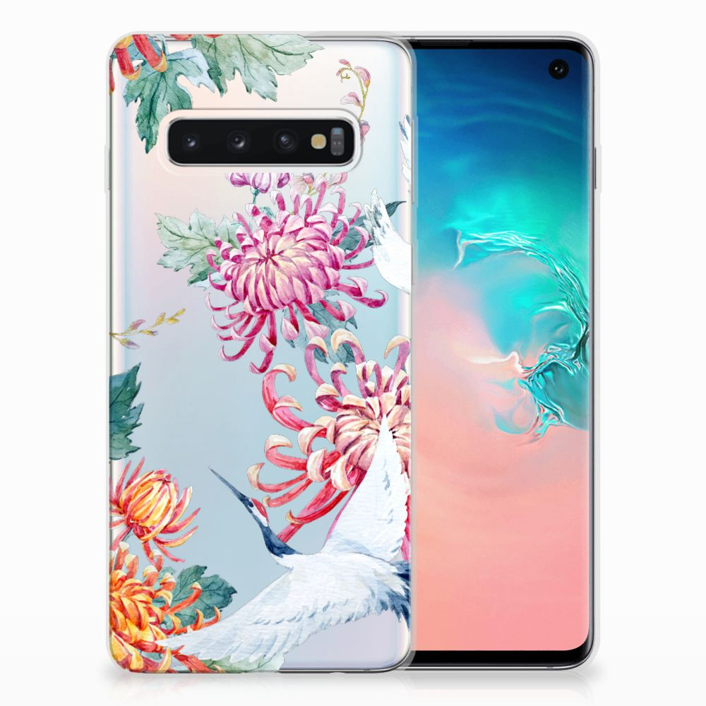 Samsung Galaxy S10 Uniek TPU Hoesje Bird Flowers