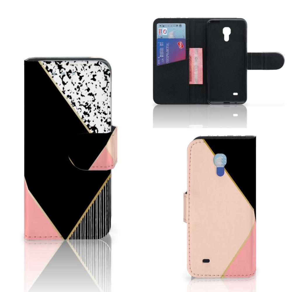 Samsung Galaxy S4 Mini i9190 Bookcase Zwart Roze Vormen