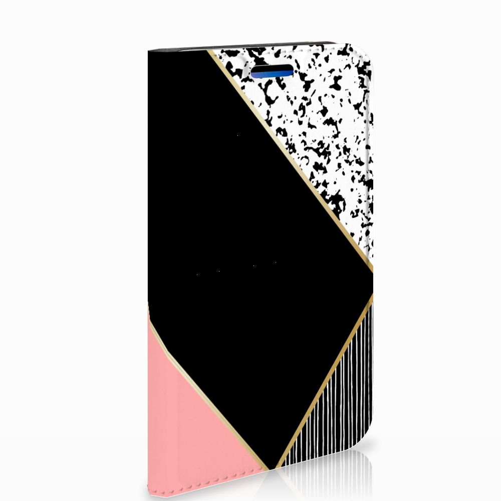 Apple iPhone X | Xs Standcase Hoesje Black Pink Shapes