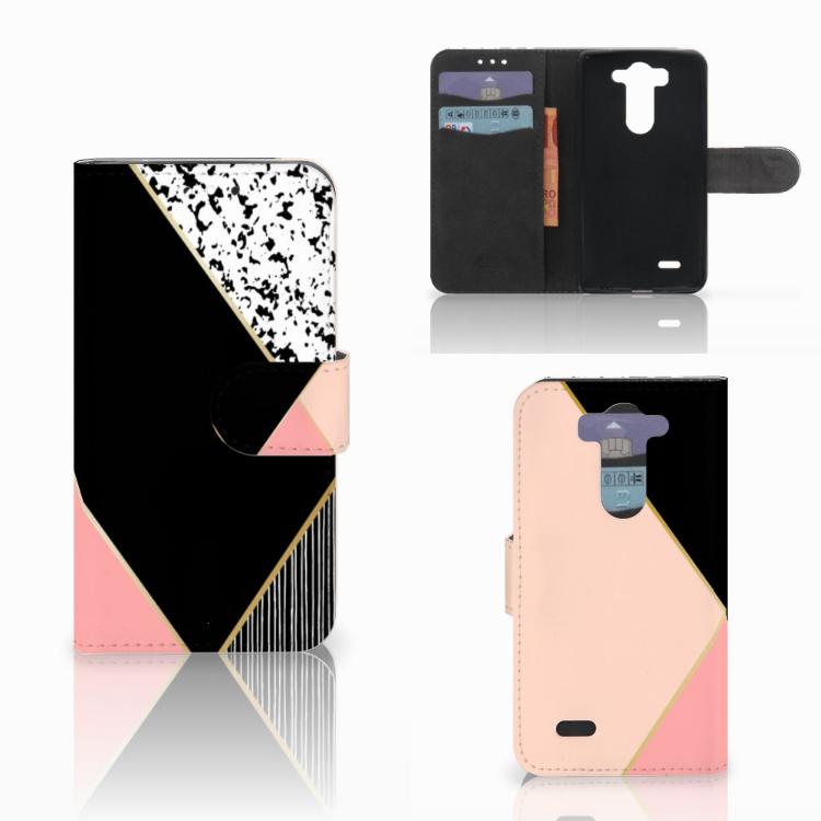 LG G3 S Bookcase Zwart Roze Vormen