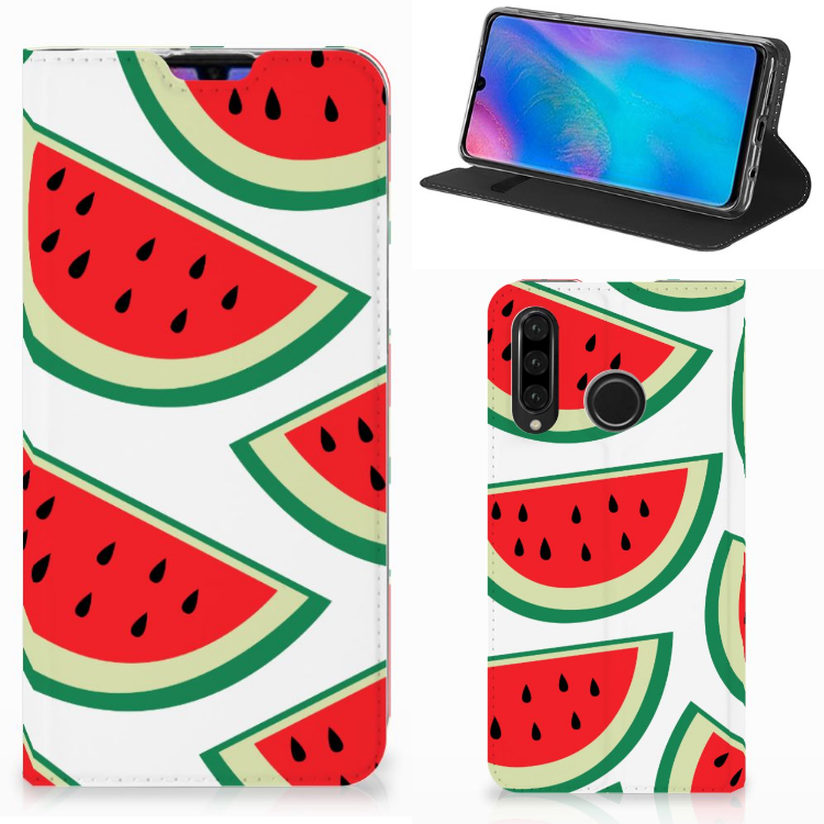 Huawei P30 Lite Flip Style Cover Watermelons
