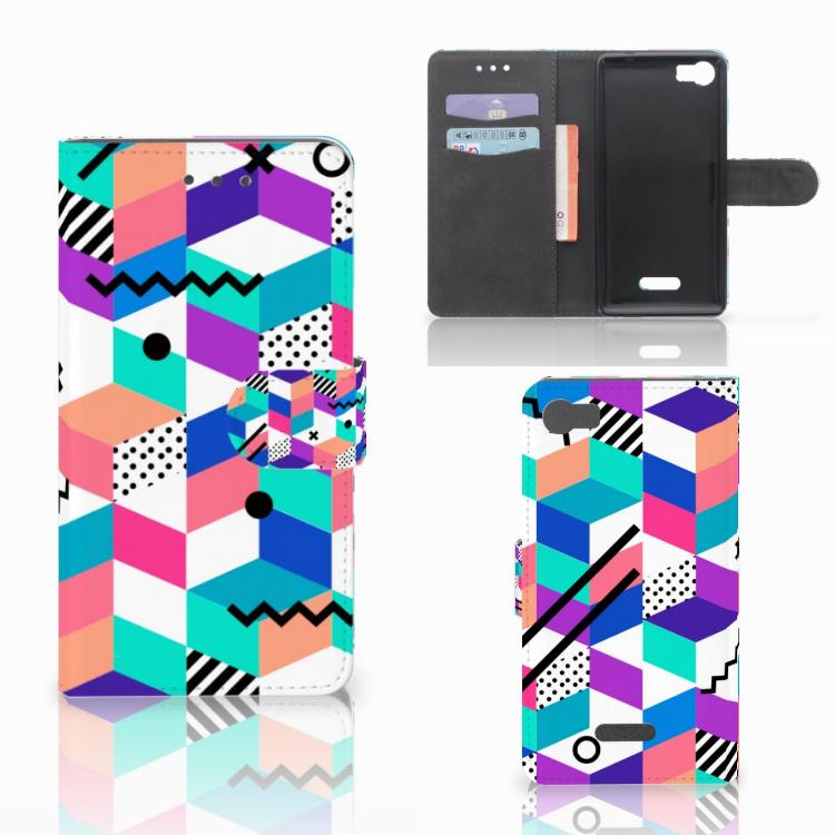 Wiko Fever (4G) Bookcase Blokken Kleurrijk