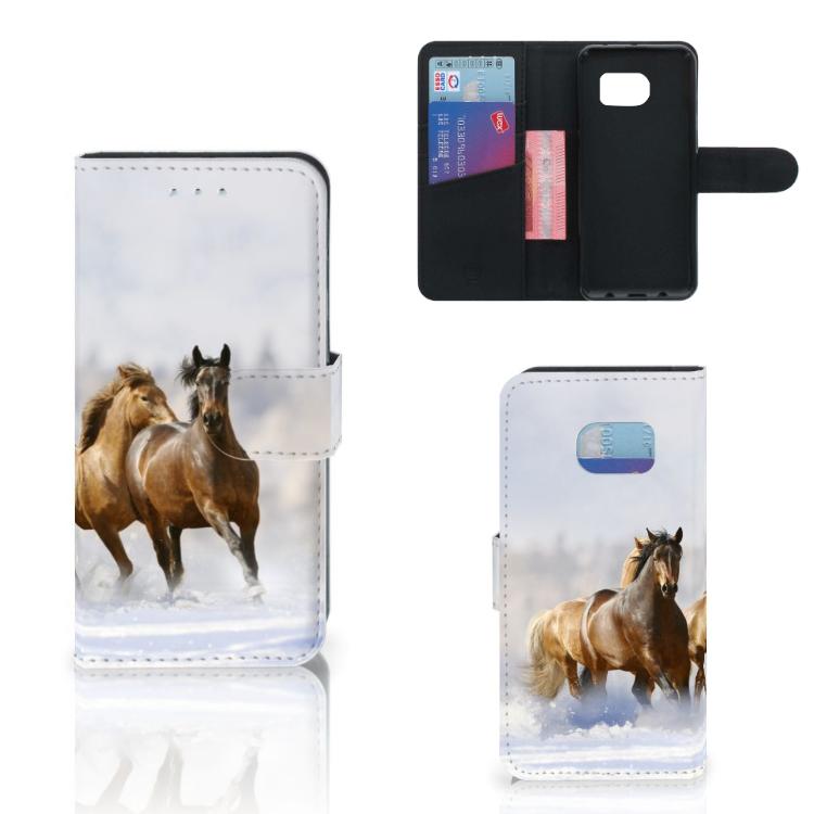 Samsung Galaxy S6 Edge Telefoonhoesje met Pasjes Paarden