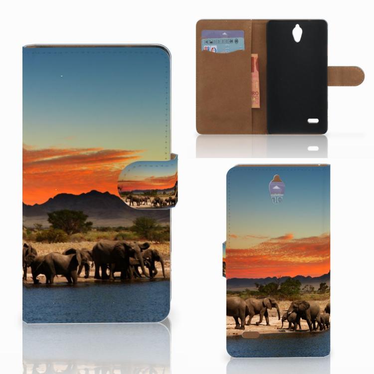Huawei Ascend G700 Telefoonhoesje met Pasjes Olifanten