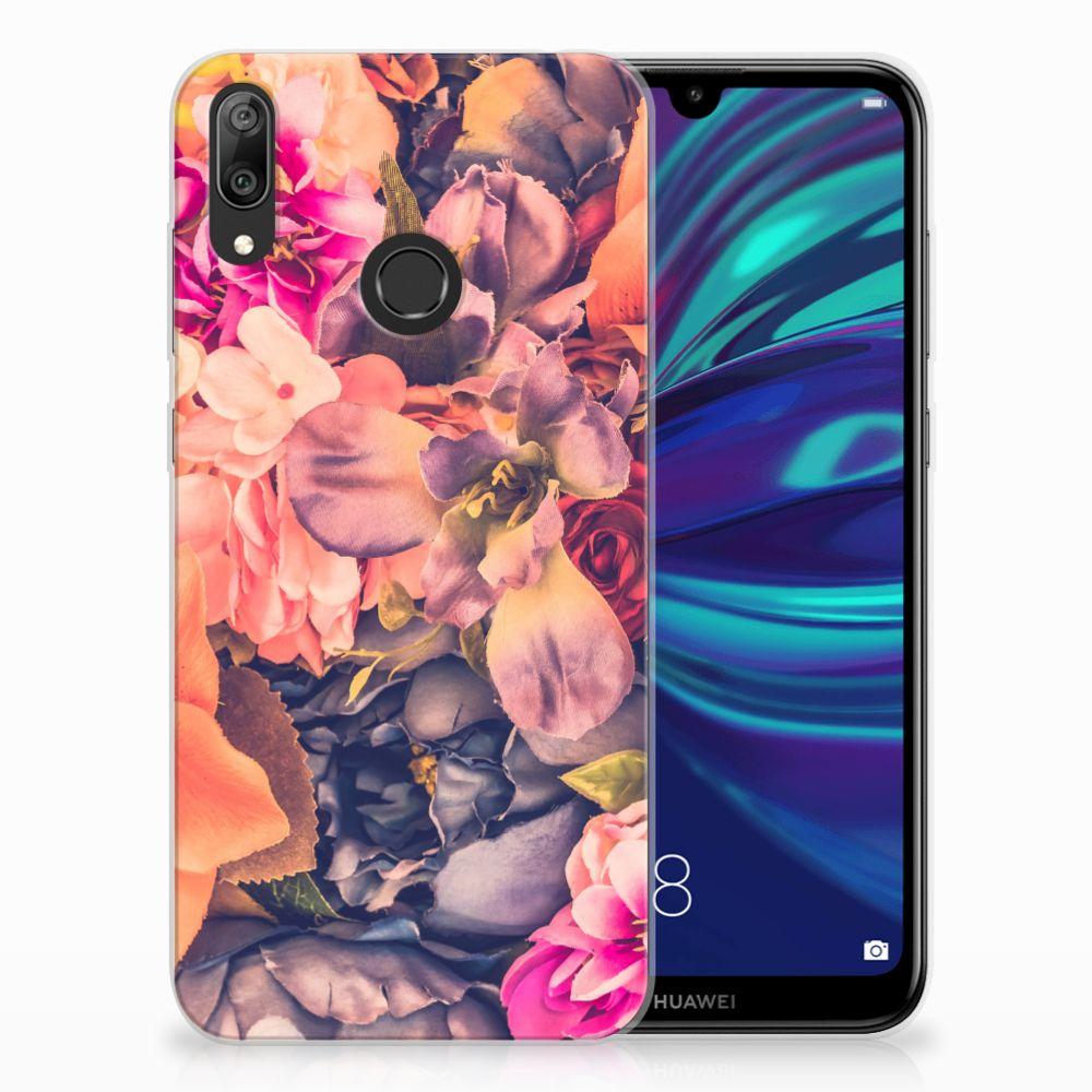 Huawei Y7 2019 TPU Hoesje Design Bosje Bloemen