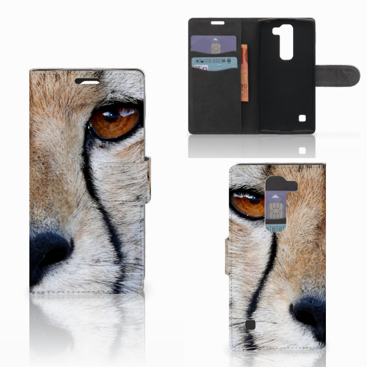 LG Spirit Telefoonhoesje met Pasjes Cheetah