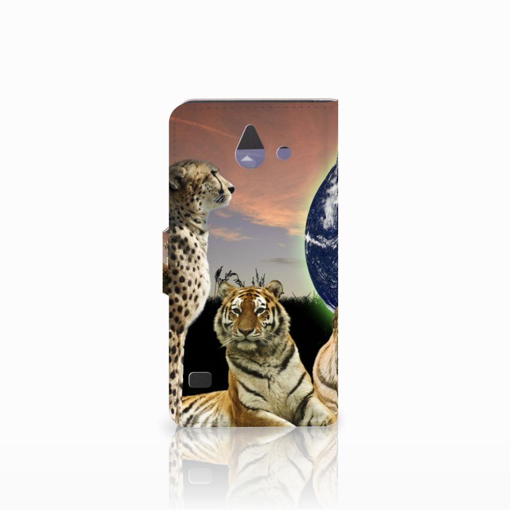 Huawei Ascend Y550 Telefoonhoesje met Pasjes Roofdieren