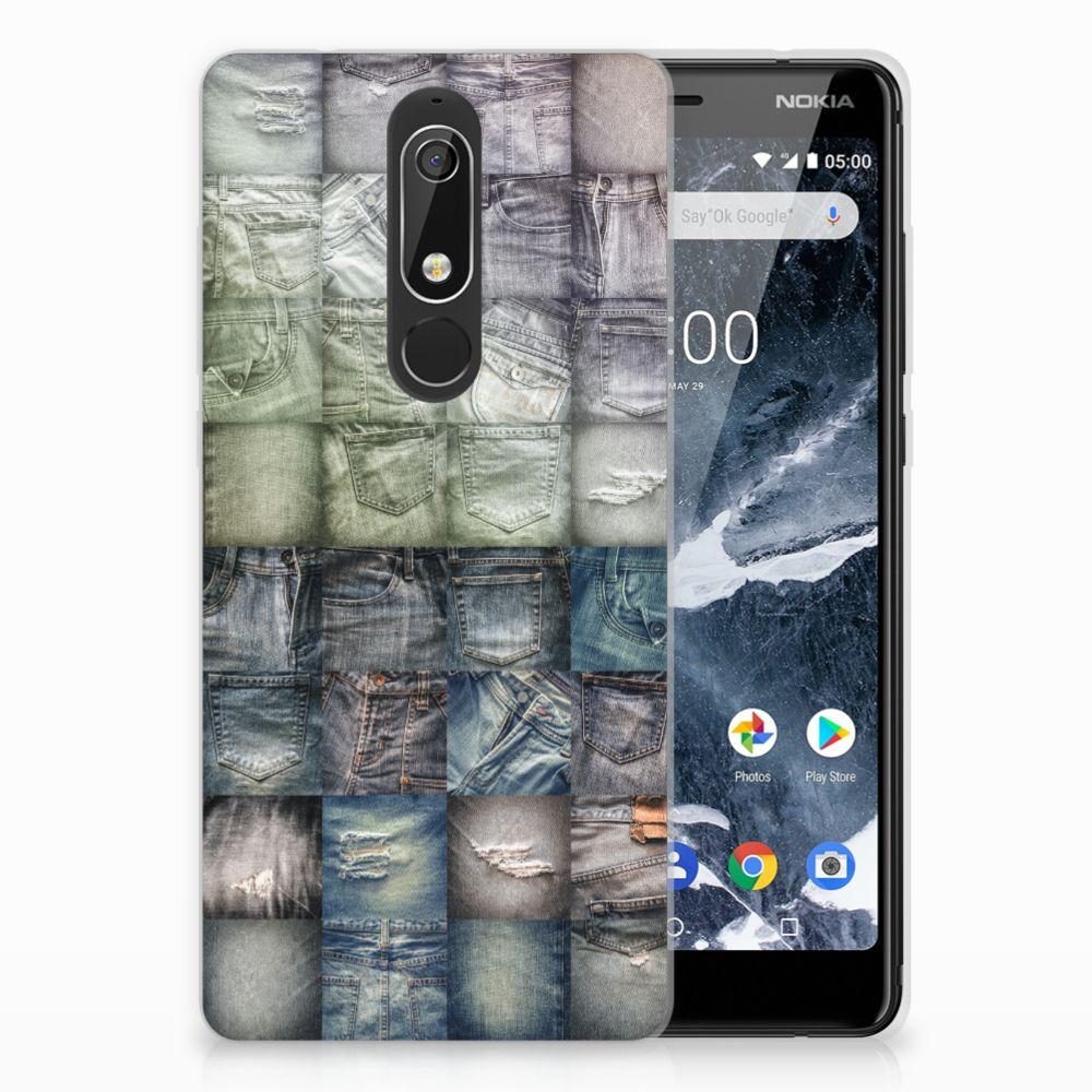 Nokia 5.1 (2018) Uniek TPU Hoesje Spijkerbroeken