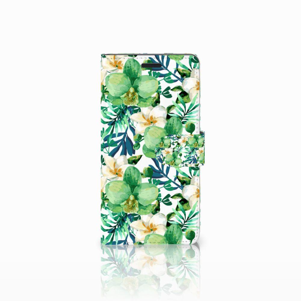 Samsung Galaxy A7 2015 Uniek Boekhoesje Orchidee Groen