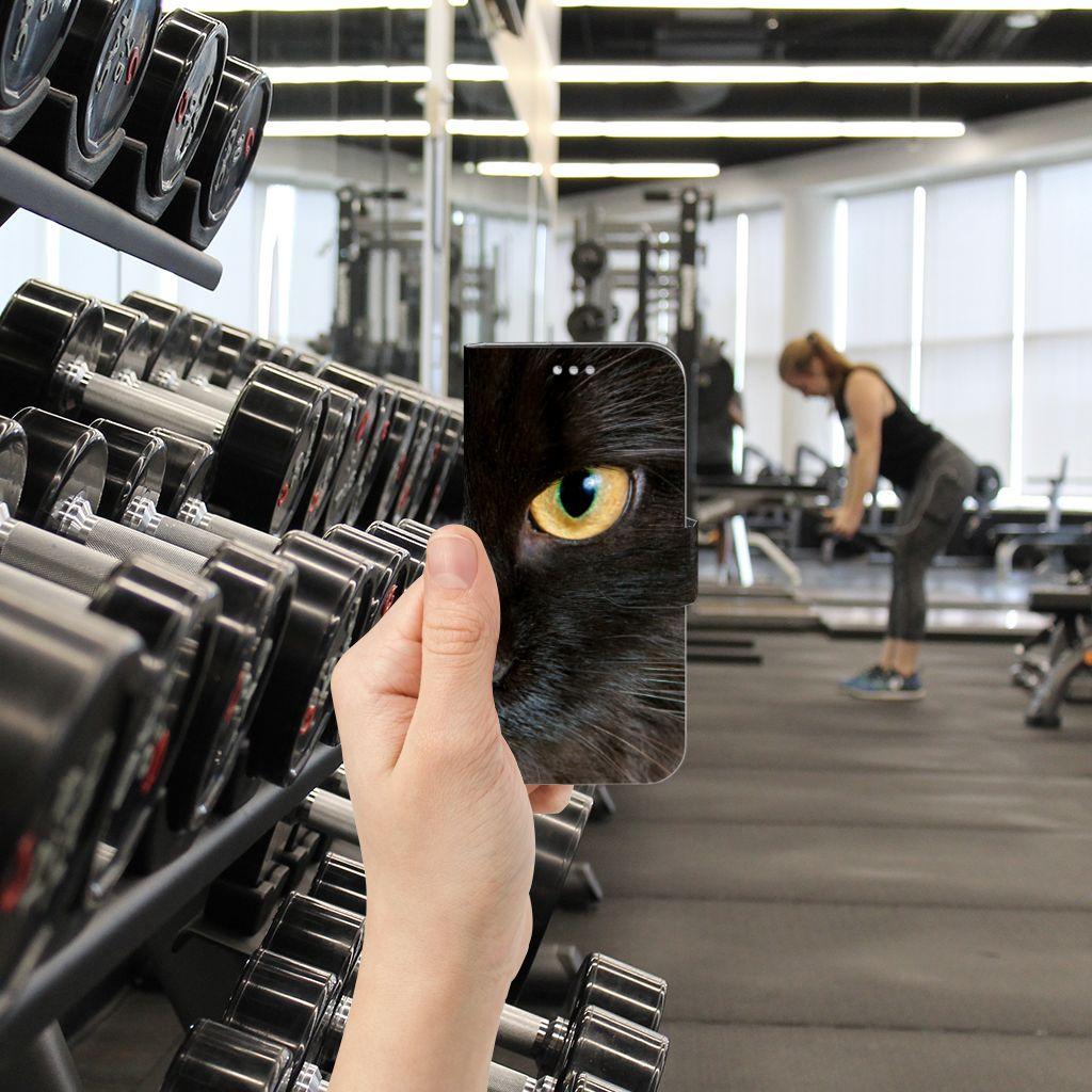 Samsung Galaxy S7 Telefoonhoesje met Pasjes Zwarte Kat