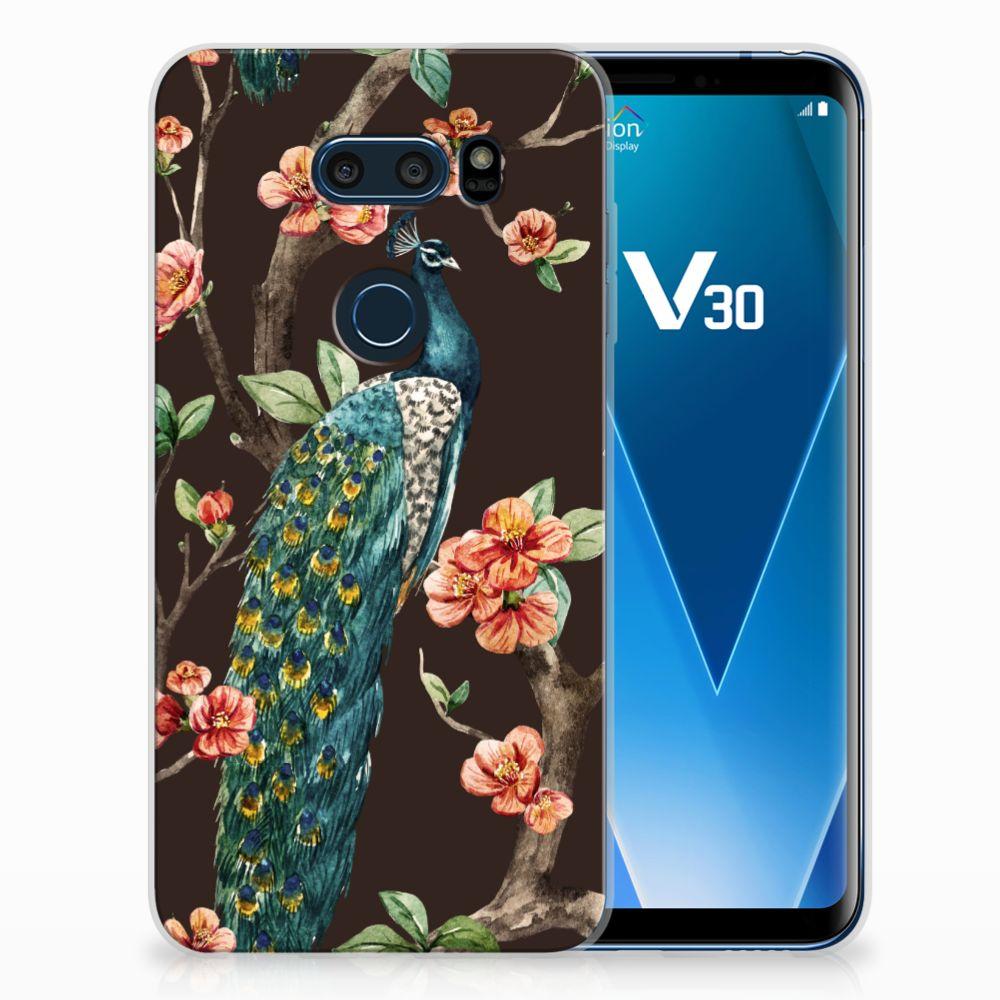LG V30 TPU Hoesje Design Pauw met Bloemen