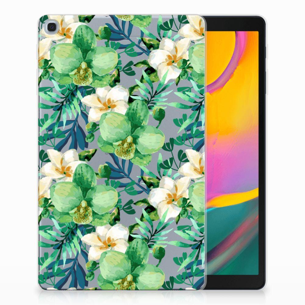 Samsung Galaxy Tab A 10.1 (2019) Uniek Tablethoesje Orchidee Groen