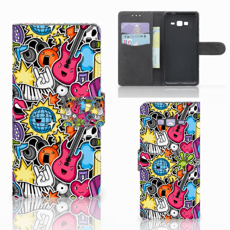 Samsung Galaxy Grand Prime | Grand Prime VE G531F Wallet Case met Pasjes Punk Rock