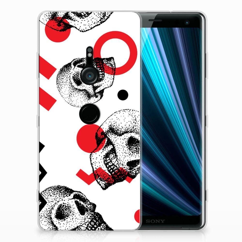 Sony Xperia XZ3 TPU Hoesje Design Skull Red