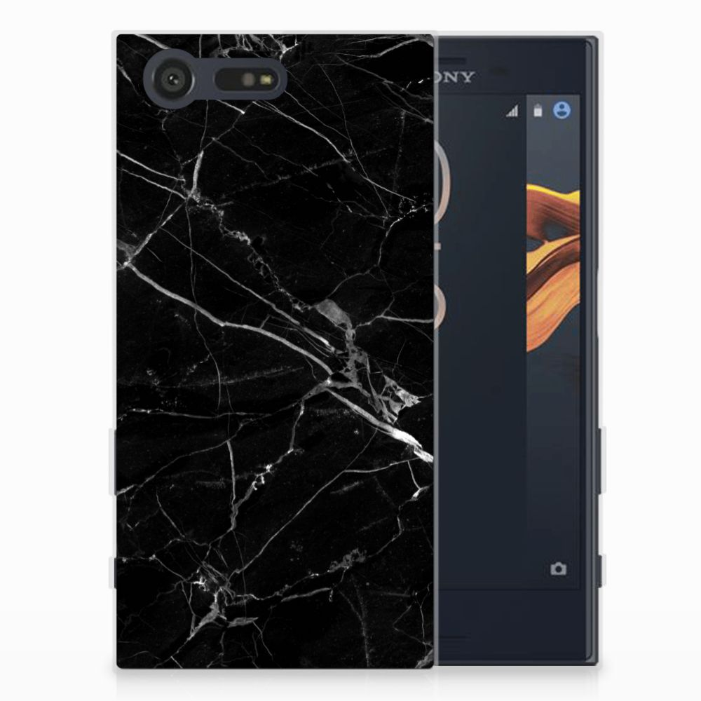 Sony Xperia X Compact TPU Siliconen Hoesje Marmer Zwart