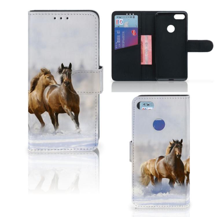Motorola Moto E6 Play Telefoonhoesje met Pasjes Paarden