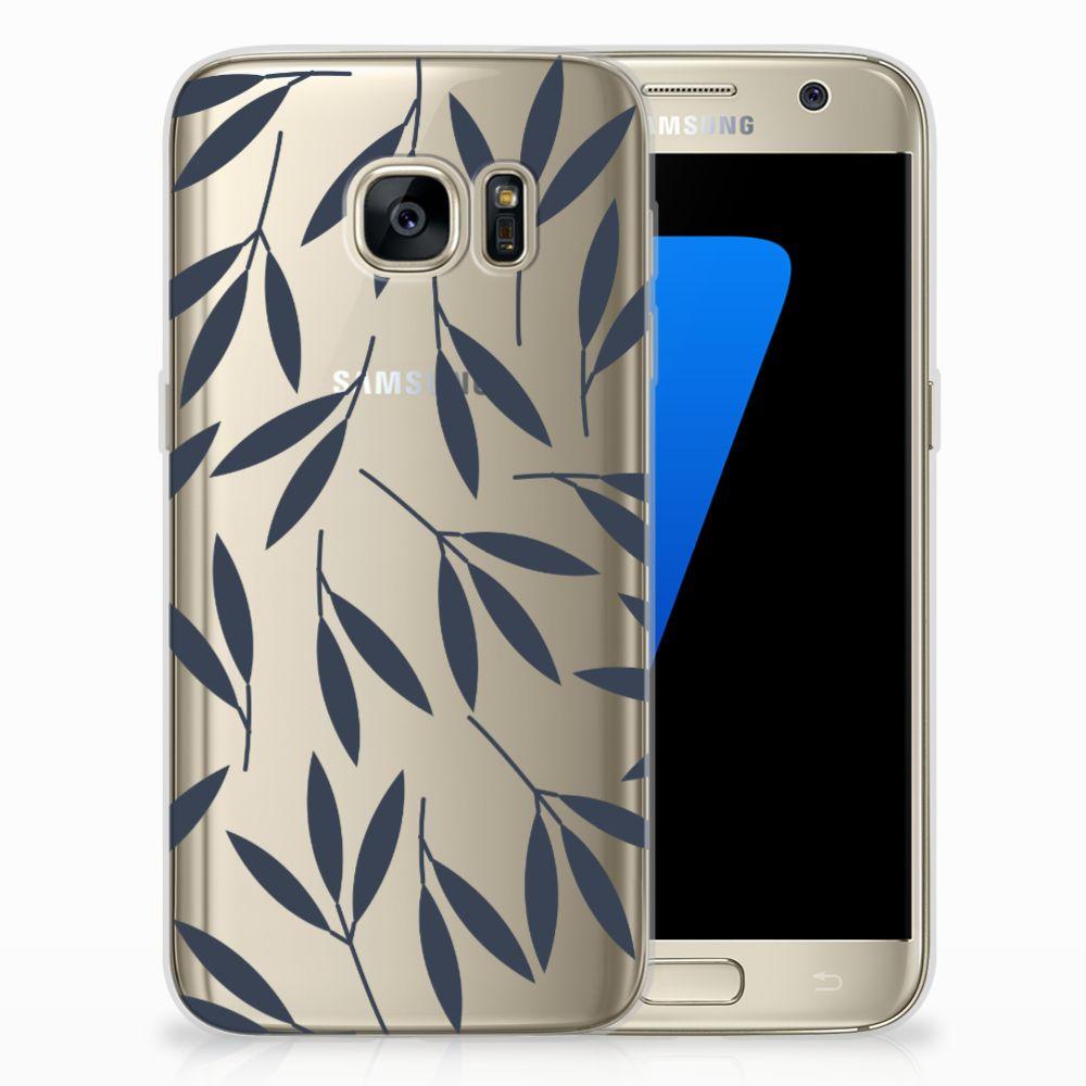 Samsung Galaxy S7 TPU Hoesje Design Leaves Blue