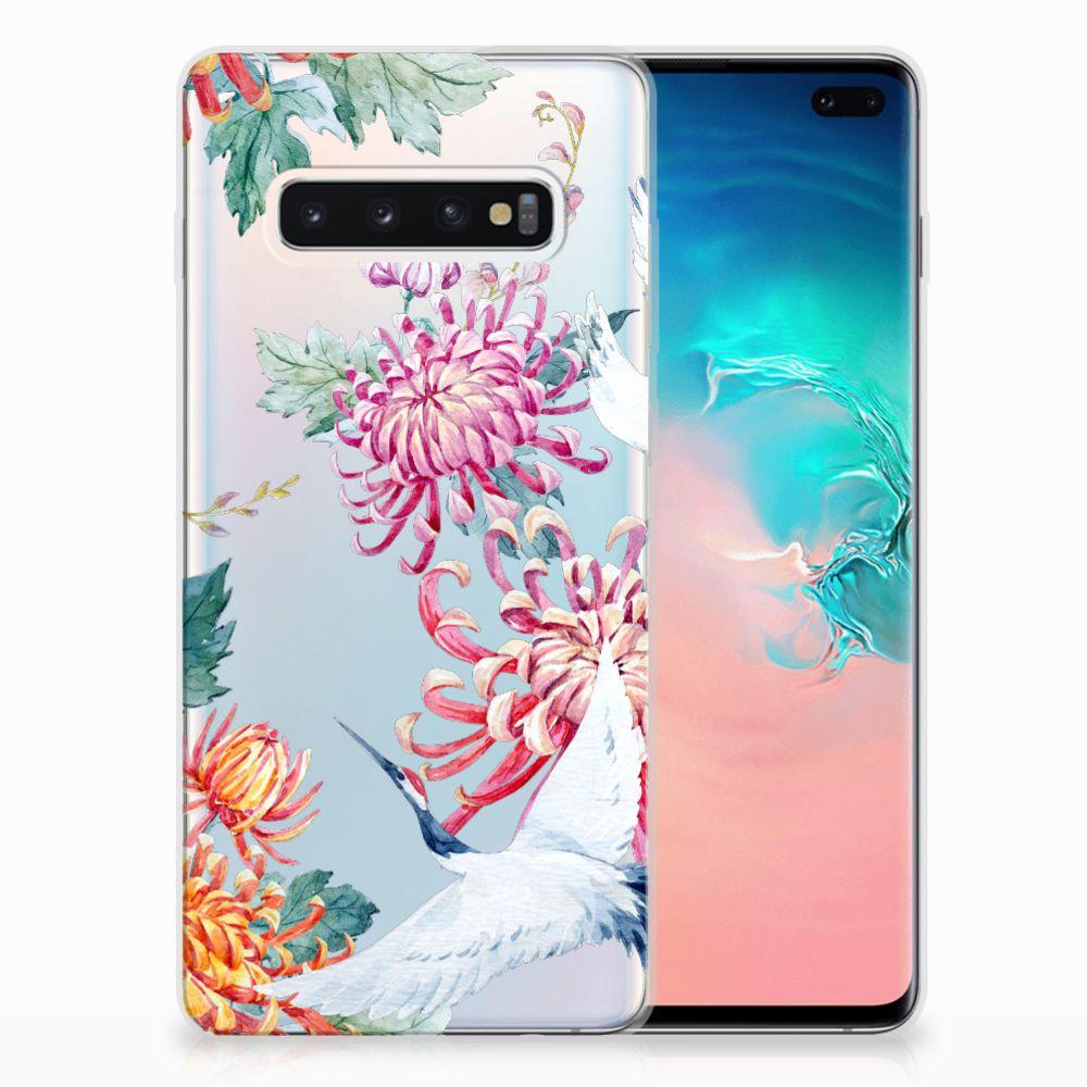 Samsung Galaxy S10 Plus TPU Hoesje Bird Flowers