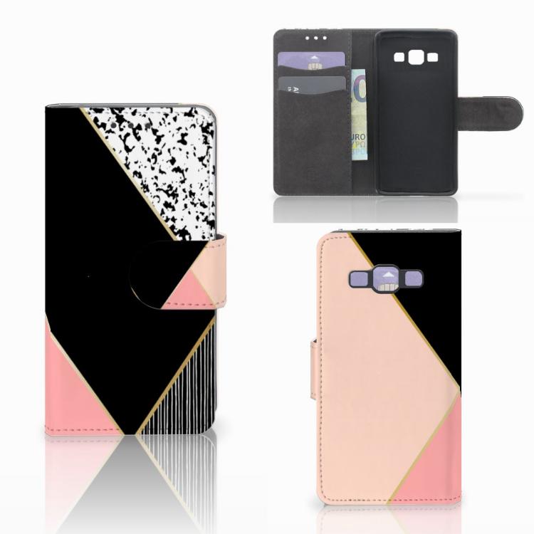 Samsung Galaxy A3 2015 Bookcase Zwart Roze Vormen