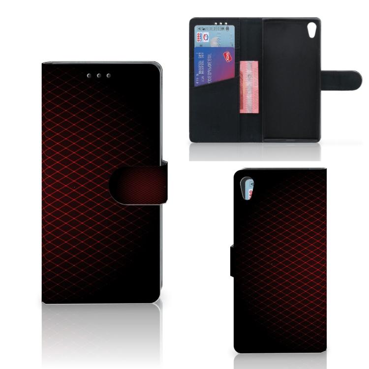 Sony Xperia XA1 Ultra Telefoon Hoesje Geruit Rood