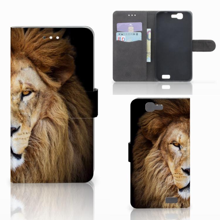 Huawei Ascend G7 Telefoonhoesje met Pasjes Leeuw