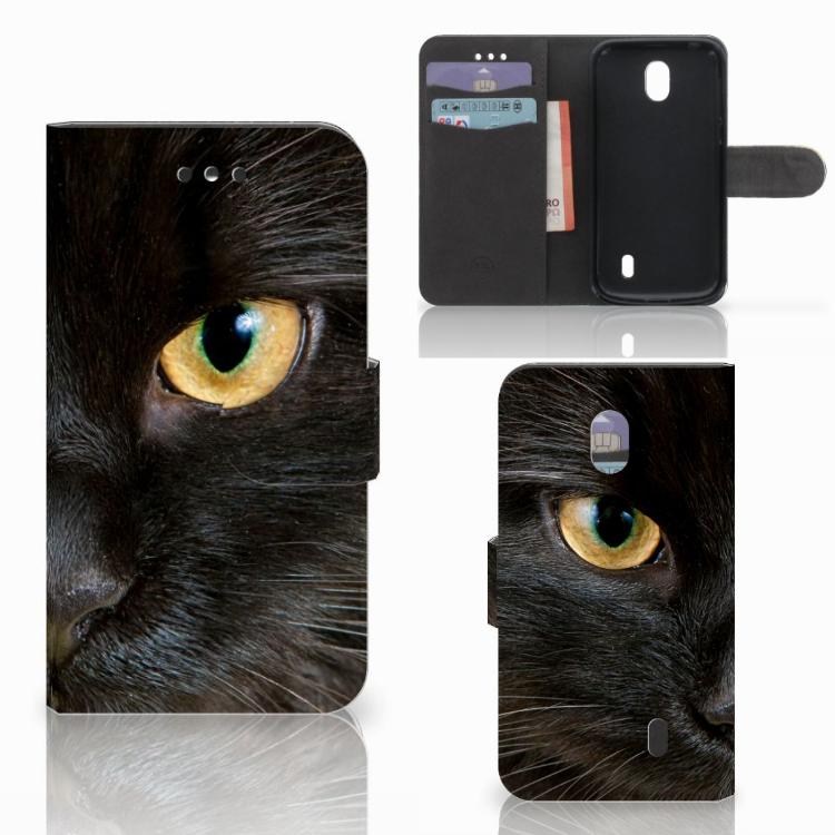 Nokia 1 Telefoonhoesje met Pasjes Zwarte Kat