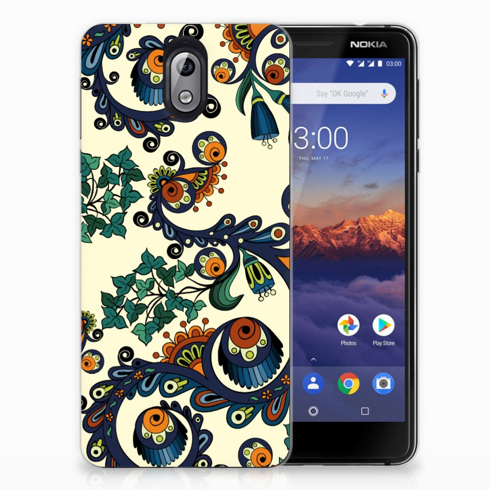 Siliconen Hoesje Nokia 3.1 (2018) Barok Flower