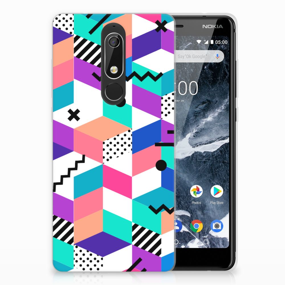 Nokia 5.1 (2018) TPU Hoesje Design Blocks Colorful