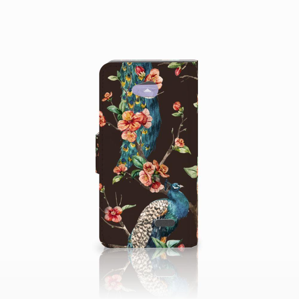 LG L70 Telefoonhoesje met Pasjes Pauw met Bloemen