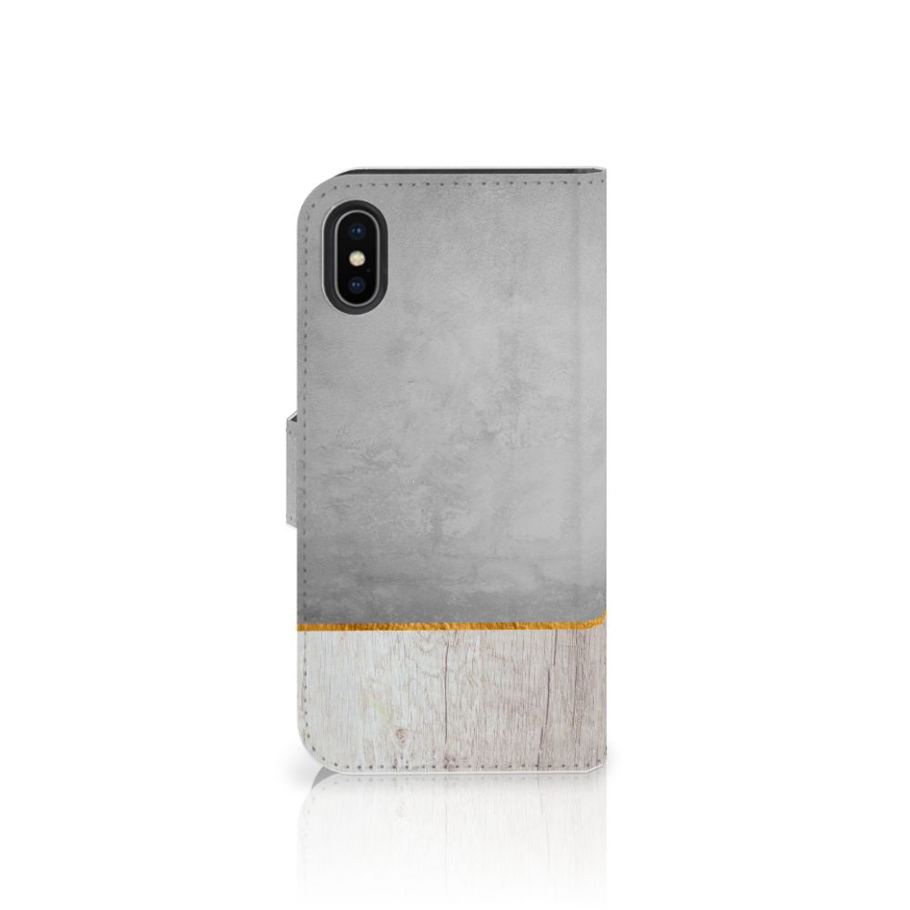 Apple iPhone X | Xs Book Style Case Wood Concrete