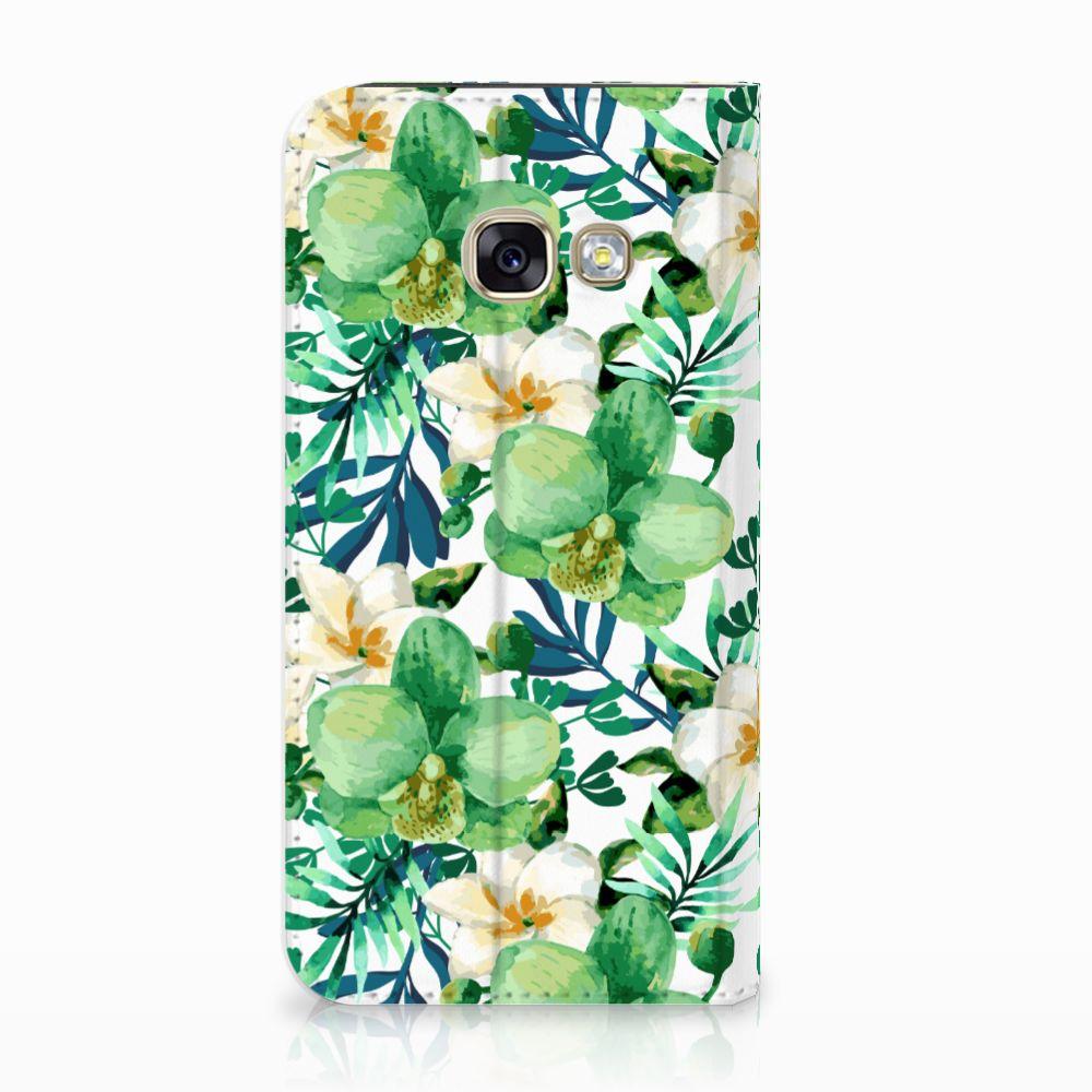 Samsung Galaxy A3 2017 Uniek Standcase Hoesje Orchidee Groen