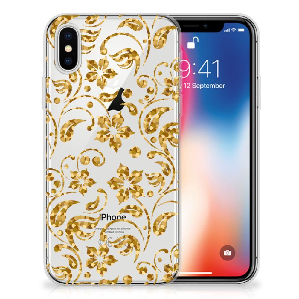 Apple iPhone X   Xs TPU Hoesje Design Gouden Bloemen