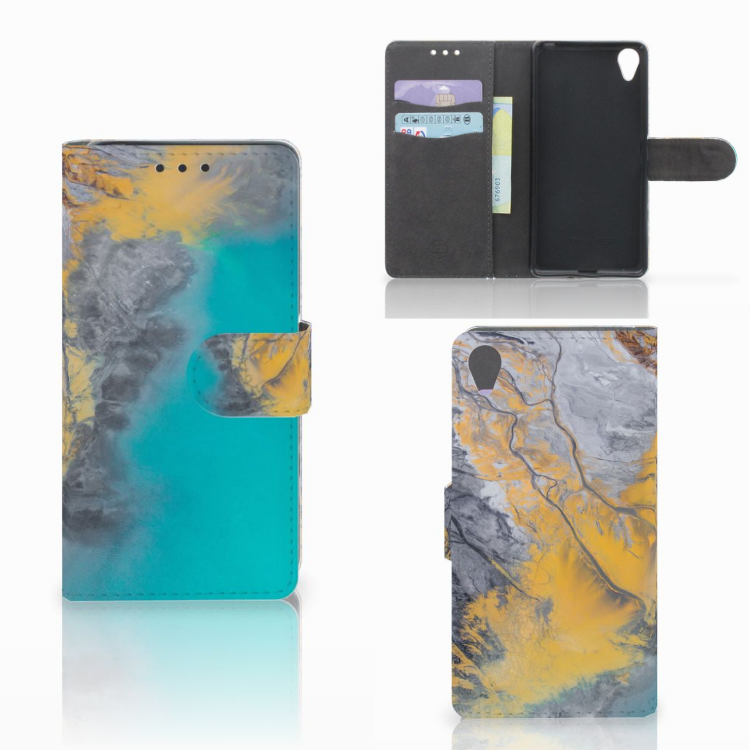 Sony Xperia X Bookcase Marble Blue Gold