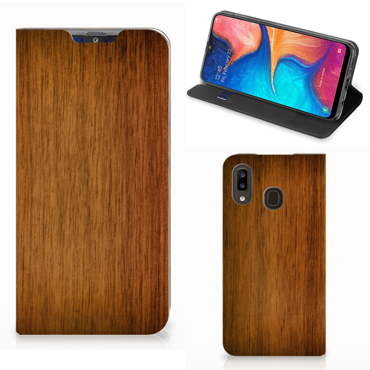 Samsung Galaxy A30 Book Wallet Case Donker Hout