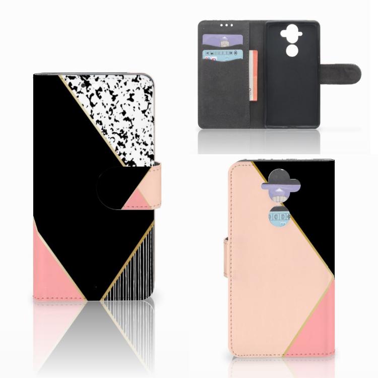 Nokia 8 Sirocco | Nokia 9 Bookcase Zwart Roze Vormen
