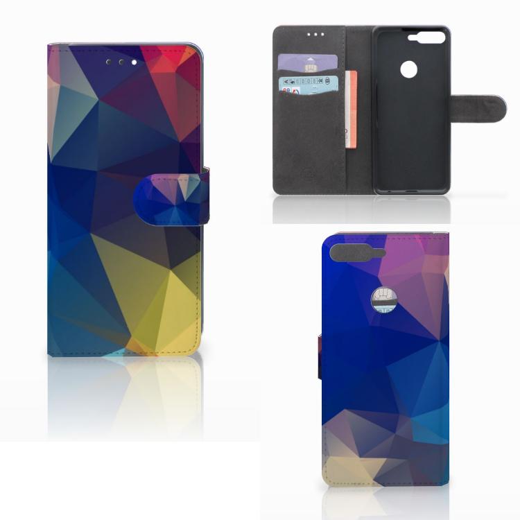 Huawei Y7 2018 Bookcase Polygon Dark