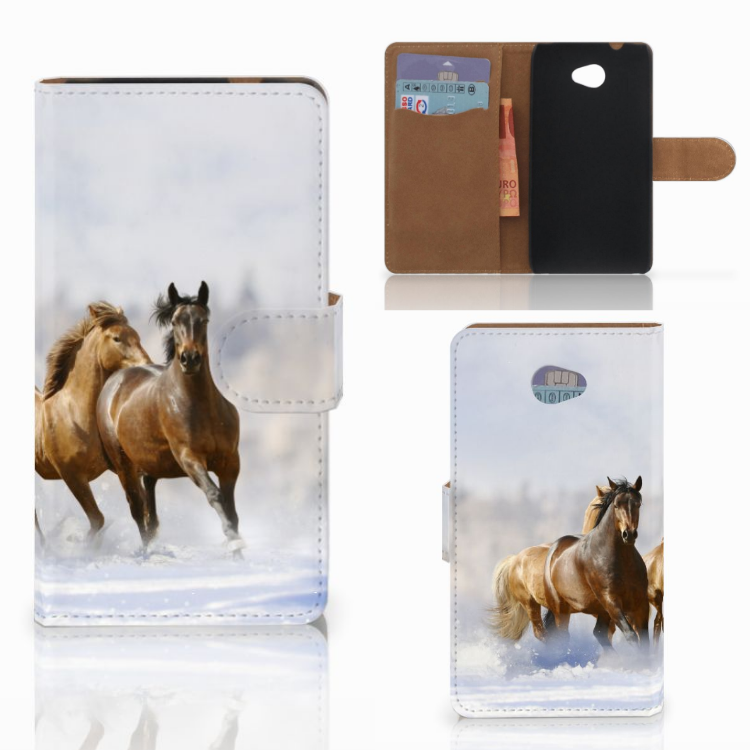HTC Desire 601 Telefoonhoesje met Pasjes Paarden