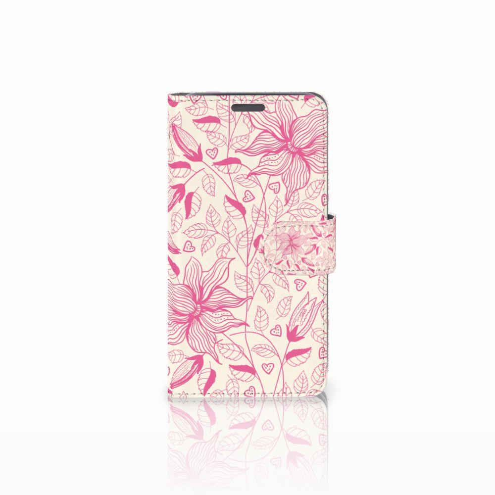 Wiko Lenny Uniek Boekhoesje Pink Flowers