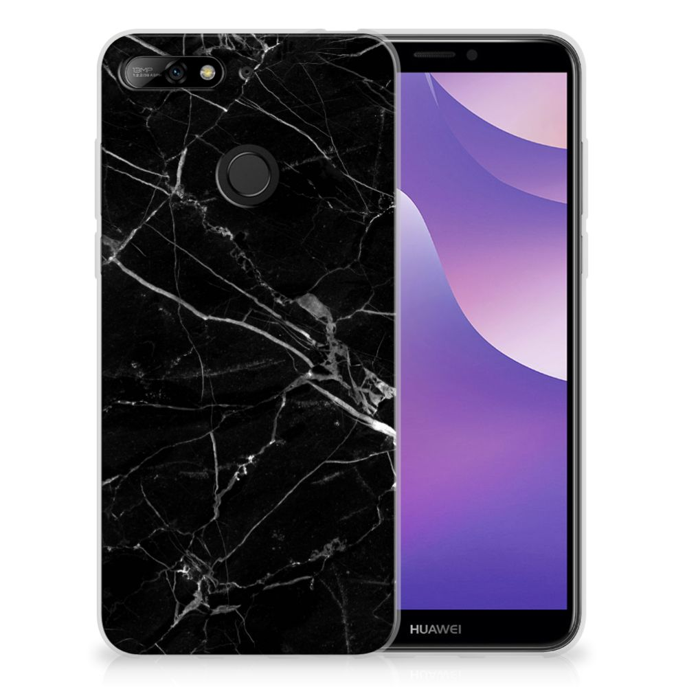 Huawei Y6 (2018) TPU Siliconen Hoesje Marmer Zwart