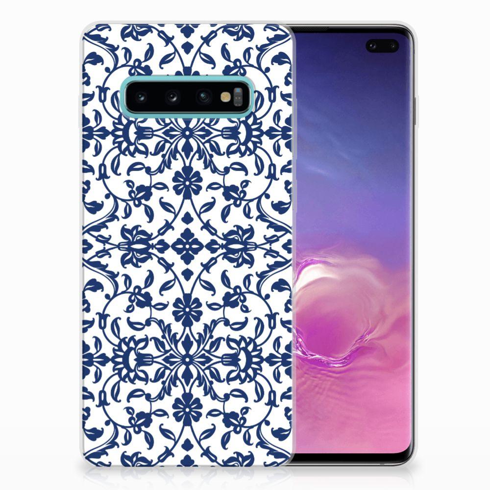 Samsung Galaxy S10 Plus TPU Hoesje Flower Blue