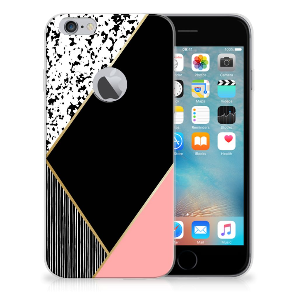 Apple iPhone 6 Plus | 6s Plus TPU Hoesje Zwart Roze Vormen