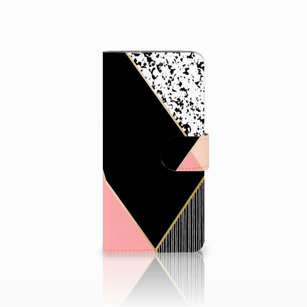 Motorola Moto G6 Uniek Boekhoesje Black Pink Shapes