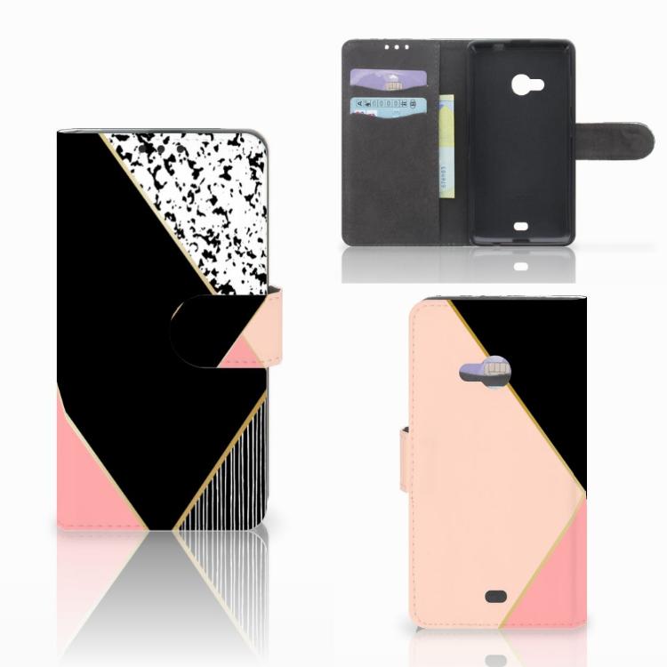 Microsoft Lumia 535 Bookcase Zwart Roze Vormen