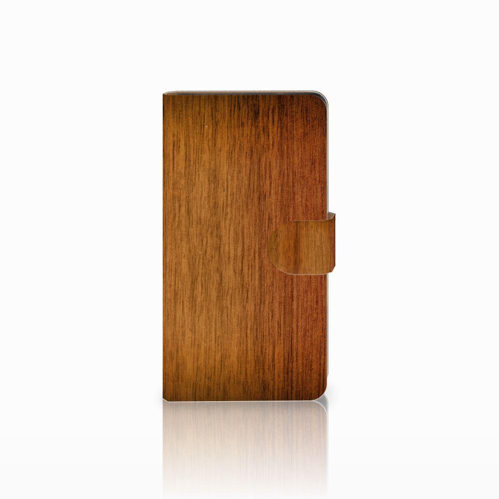 Huawei Ascend G700 Uniek Boekhoesje Donker Hout