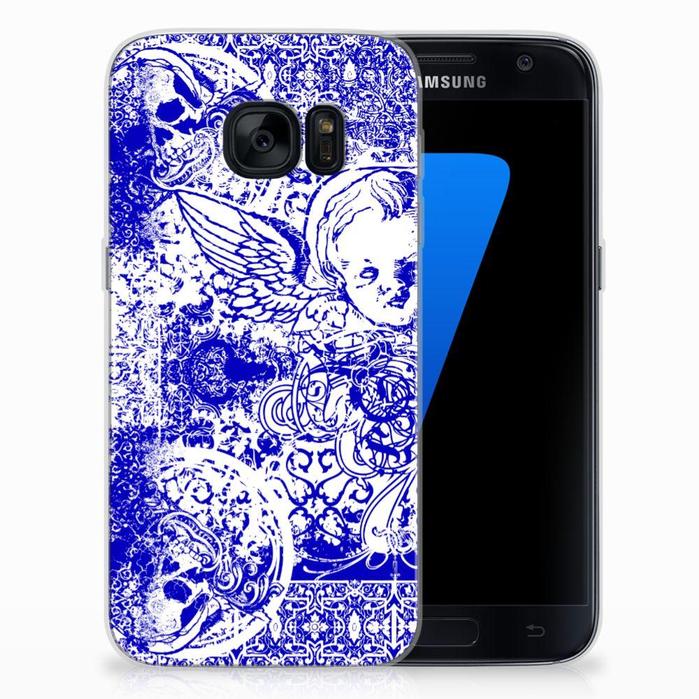 Silicone Back Case Samsung Galaxy S7 Angel Skull Blauw