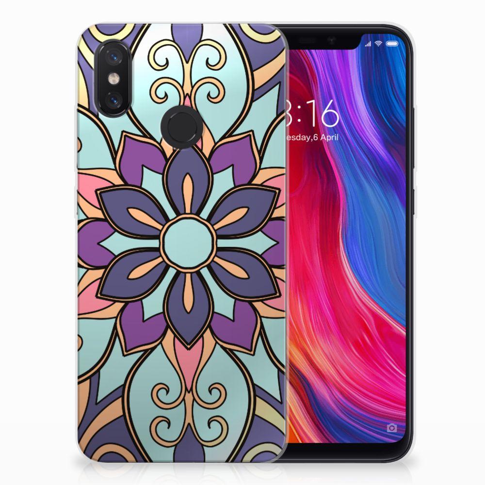 Xiaomi Mi 8 TPU Hoesje Design Purple Flower