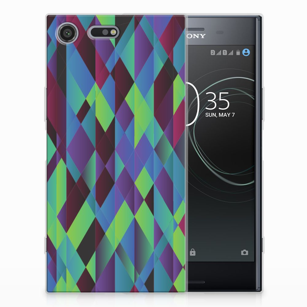 Sony Xperia XZ Premium TPU Hoesje Abstract Green Blue
