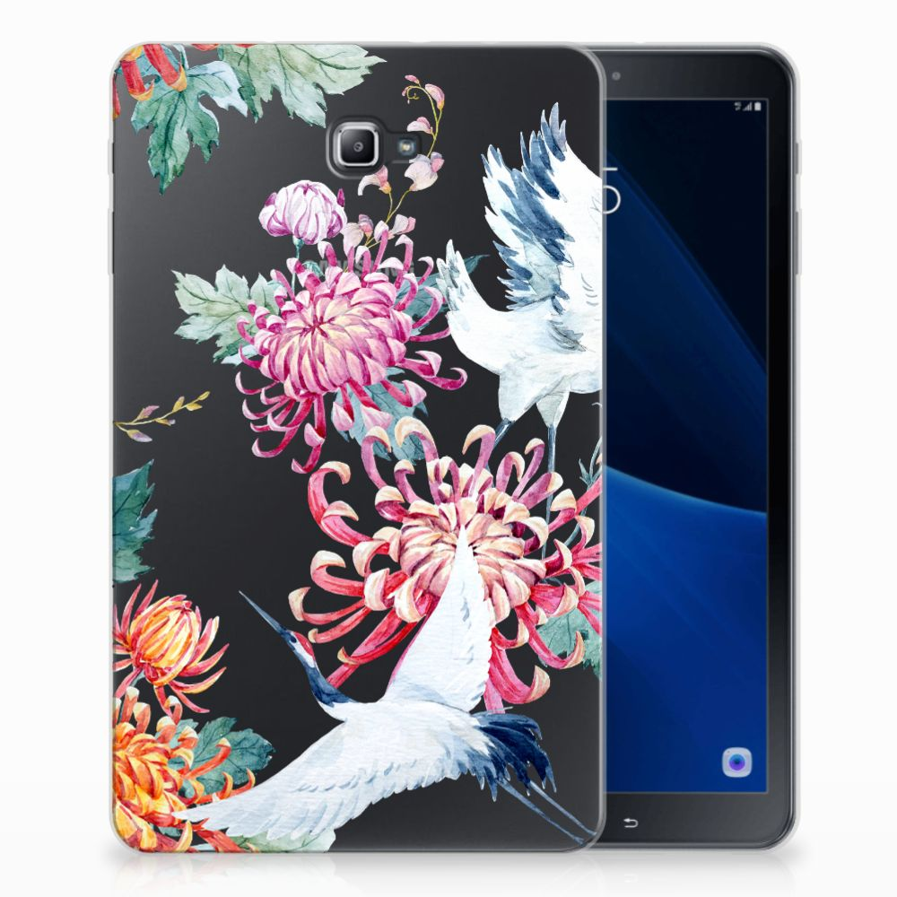 Samsung Galaxy Tab A 10.1 Uniek Tablethoesje Bird Flowers