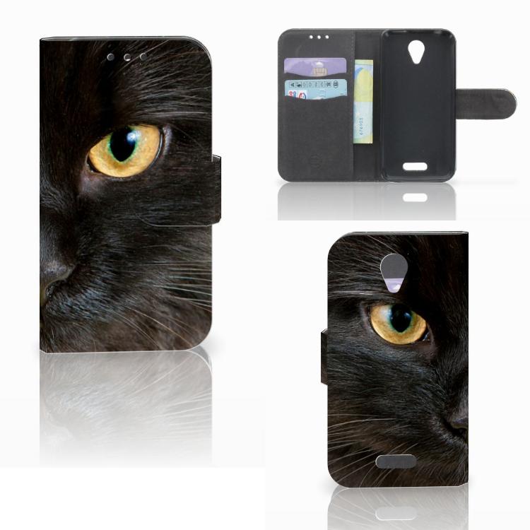 Lenovo B Telefoonhoesje met Pasjes Zwarte Kat