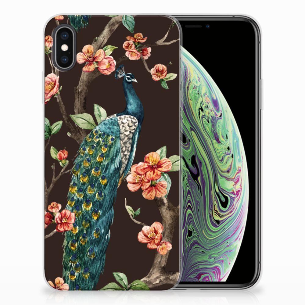 Apple iPhone Xs Max TPU Hoesje Pauw met Bloemen